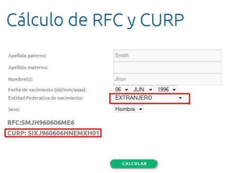 CALCULO DE CURP PARA EXTRAJEROS