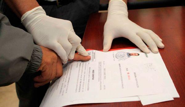 registro de huellas para los antecedentes no penales