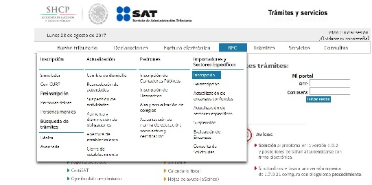 requisitos para exportar sat